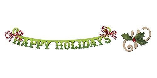 Sizzix Sizzlits Stanzplatte, dekorativ-Phrase, Happy Holidays mit Holly Flourish by Rachael Bright