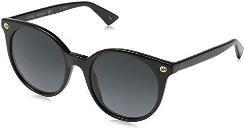 Gucci Damen GG0091S 001 Sonnenbrille, Schwarz (Black/Grey), 52