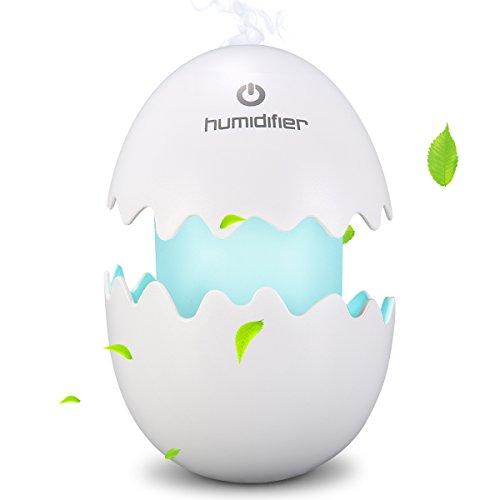 Preisvergleich Produktbild Skymore Ei Raumbefeuchter, Tragbarer Ultraschall Luftbefeuchter, mit LED Nachtlicht für Schlafzimmer/Büro/Auto Weiß