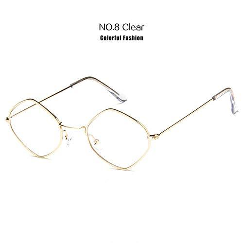 Yangjing-hl Vintage Sonnenbrille Frauen Metallrahmen Ocean Red Pink Clear Sonnenbrille Männer Small Frame Cat Eye Brille