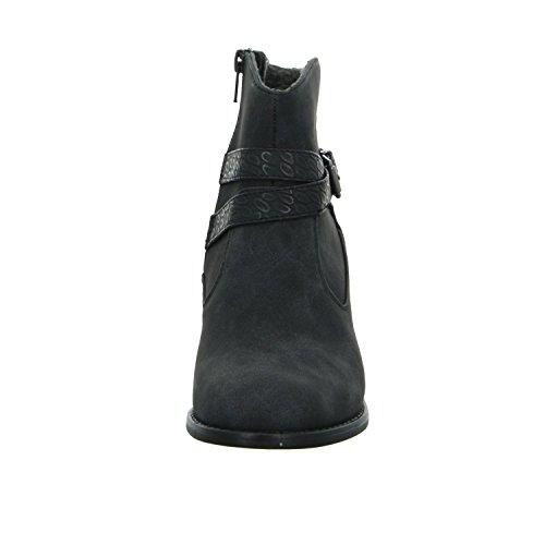 Alyssa 67102 Damen Schlupf/Reißverschlussstiefelette Warmfutter eleganter Boden Schwarz (Schwarz)