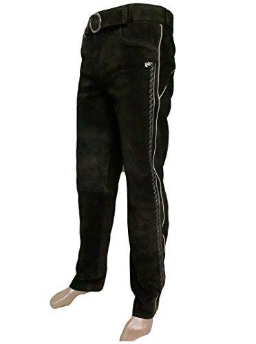 Trachten Lederhose lang inklusive Gürtel in braun farbe Echt Leder Trachtenlederhosen Gr. 46-62 (taillenmaß stehen im beschreibung)Größen fallen groß aus. (50, Braun)