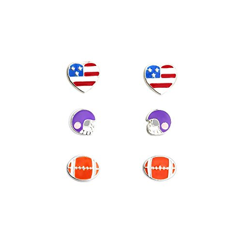 3 Paar Laimons Mädchen Kids Kinder-Ohrstecker Ohrringe Kinderschmuck Football Helm Schutzhelm USA Sport aus Sterling Silber 925