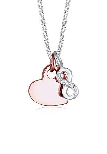 Elli Damen-Kette mit Anhänger Herz Infinity 925 Silber Swarovski Kristalle weiß Brillantschliff 45 cm