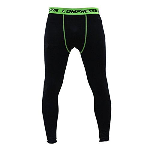 (HERREN mens sporthosen fitnesshosen COMPRESSION TRAINING LEGGING Leggings HOSE pants - Grün + Schwarz, L)