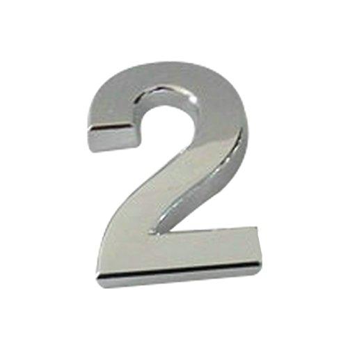 Plaque autocollante en chrome plaqué, pour numéro de porte, voiture, adresse, chiffres, numéro 0, 2