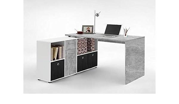 RASANTI LEX 1 Schreibtisch Winkelkombi von FMD BetonWeiß