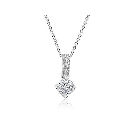 Einfache Kostüm Hausgemachte (0.21ct F/VS1 Solitär Diamant Anhänger für Damen mit runden Brillantschliff diamanten in 18kt (750) Weißgold ohne)
