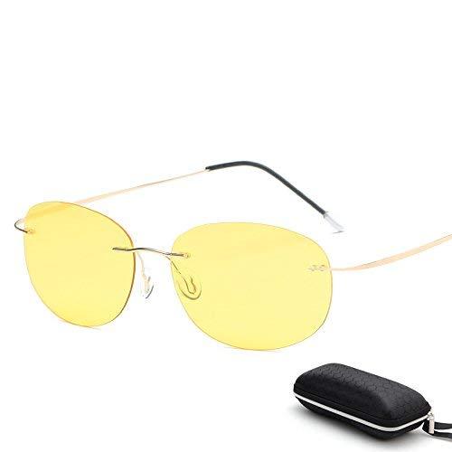 Schutz Sonnenbrillen Mit Etui Polarized Titanium Silhouette Sonnenbrillen Polaroid Gafas Herren Sonnenbrillen für Männer Gläser Fahren (Farbe : ZP3225 with case C5)