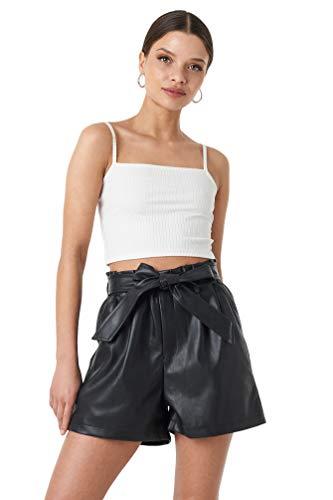 Belted Hosen Leinen (NA-KD Trend - Damen Kurz Hosen PU Paper Bag Waist Belted Shorts Schwarz)