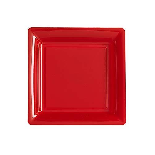 Generique - 12 Assiettes carrées Rouge 23,5 cm