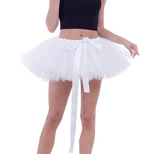 Ziyou Hochwertiger Damen Plissee Gaze Knot Knit Kurzer Rock Erwachsenen Tutu Tanzen Rock(Freie Größe, Weiß) -