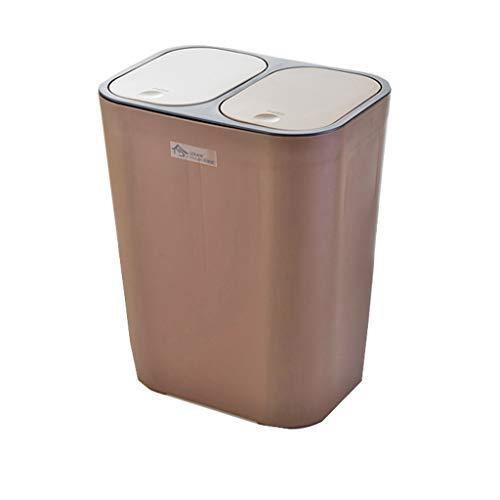 NJCG Haushalts-rechteckiger Abfalleimer, Push-Typ Doppelte Abdeckung kann klassifiziert Werden Große kreative Küche Wohnzimmer Mülleimer weiß braun 33 * 21 * 29cm (Farbe : Brown)