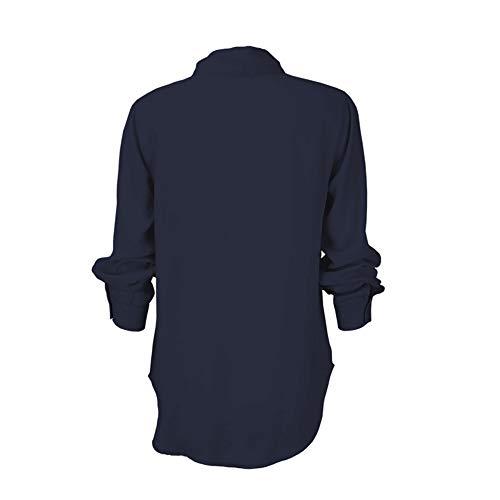 JiaMeng Top Manica Lunga da Donna Sezione Lunga del V Collo di Colore Solido Camicetta Maglietta della Camicia del Cotone del Collo V