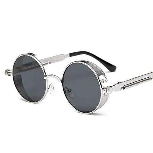 CCGKWW Metall Steampunk Sonnenbrille Männer Frauen Mode Runde Brille Markendesign Vintage Sonnenbrille Hochwertige Uv400 Brillen