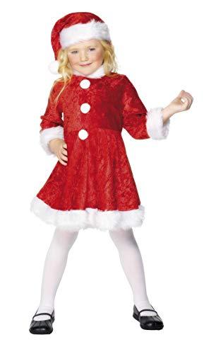 Smiffys, Kinder Mädchen Miss Santa Kostüm, Kleid und Mütze, Größe: L, 29181