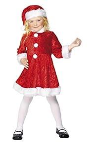 Smiffys- Disfraz de Mini Miss Santa, Rojo, con Vestido y Gorro, Color, M - Edad 7-9 años (Smiffy