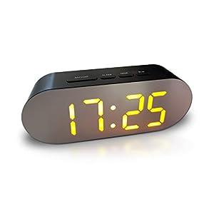 Wecker Digital – Netzbetrieben, Spiegel Wecker ohne Ticken einfache Bedienung kein Schnickschnack, Wecker laut, Schlummerfunktion, Helligkeitsregler, große LED Anzeige, 2x USB-Netzteil, 12/24 Stunden