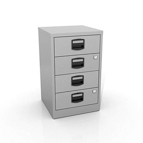 OFITURIA® Ordner aus Metall, für Büro, mit 4 Schubladen, mit Schlüssel, 62 x 41 x 40