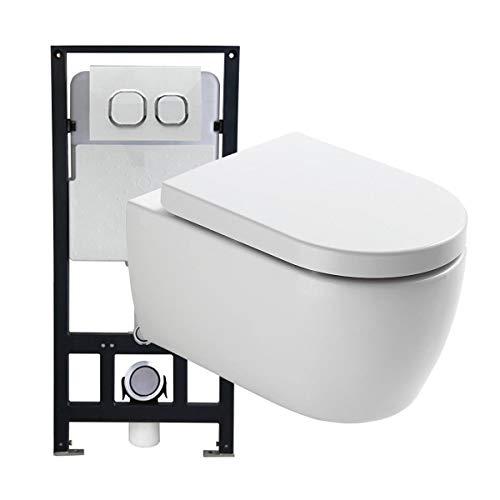 Bernstein Glas-modell (WC-Sparpaket 1: WC NT2038 und Soft-Close Sitz mit Vorwandelement G3004A und Betätigungsplatte vorne, Betätigungsplatte:Modell weiß Glas)