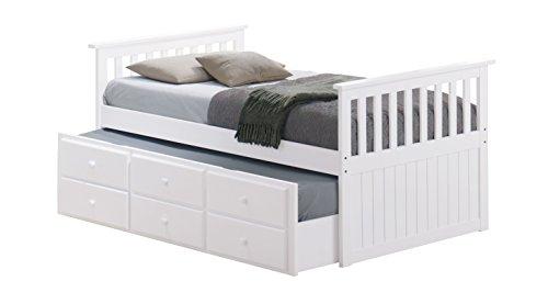 BROYHILL Kinder Marco Insel Captain's Bett mit Ausziehbett und Schubladen Modern weiß