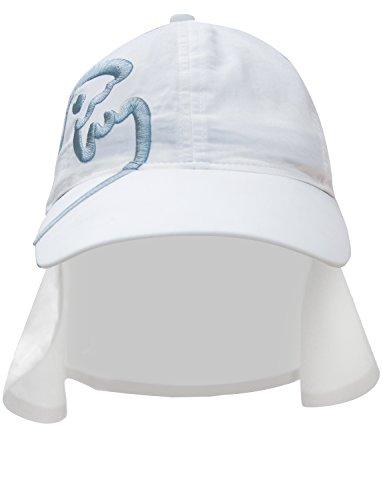 iQ-UV Kinder 200 Sonnenschutz Cap mit Nackenschutz Kappe, White, 50-55 cm