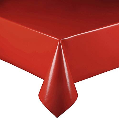 DecoHomeTextil Lacktischdecke Wachstuch Wachstischdecke Tischdecke Farbe, Motiv und Größe wählbar Uni Rot 140 x 250 cm Eckig abwaschbar Lebensmittelecht