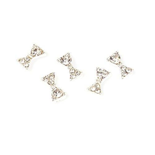 5Pcs Noeuds Papillon Strass CritalPlaqué Argent Bijoux Nail Art 3D Décoré Ongle RAIN QUEEN