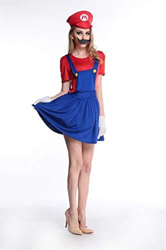 ZYJT Halloween Dame Halloween Unheimlich Kostüm Charakter Kostüm Hosenträger Form Kleid Kostüm Party Dekoration (Color : Red, Size : - Mario Party Charaktere Kostüm
