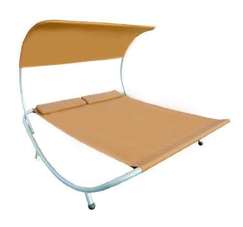 Outsunny - Tumbona cama doble de acero color arena plegable con almohada y sombrilla jardin