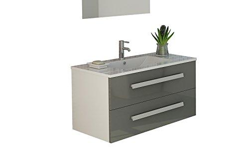 Badset Badmöbel Waschtisch Locarno, grau, hochglanz von Jet-Line