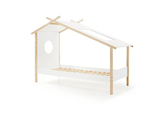 Vipack Zelt-Bett Cocoon 90 x 200 cm weiß Natur Kinderbett, Einzelbett, Jugendbett, Holzwerkstoff, 103 x 228 x 163 cm