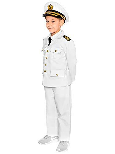 Halloween Kostüm Kapitän Schiff - Maskworld Authentisches Kapitän Kinder-Kostüm - Verkleidung Uniform Anzug für kleine Seefahrer - Karneval Fasching & Halloween - Größe 104