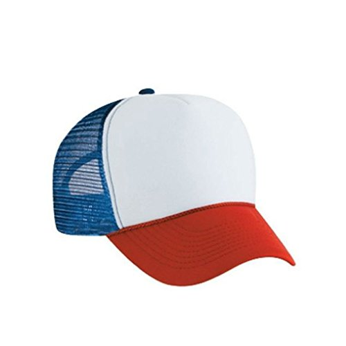 MyPartyShirt Red White and Blue Dustin Henderson Trucker Cap (Red Hat Blue Shirt Kostüm)