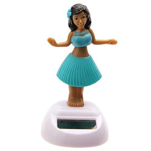 Vektenxi Solarbetriebene Hula-Tänzerin in Premium-Qualität mit blauem Rock