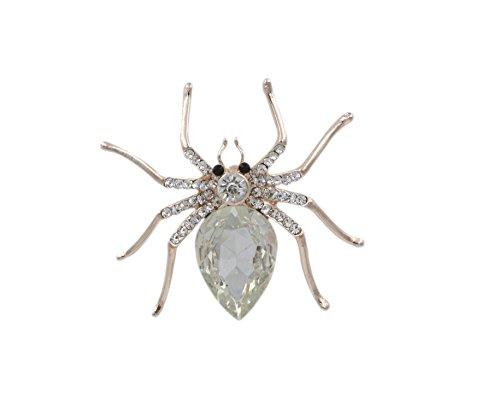 totoroforet Brosche/Betonanker Damen vergoldet goldene Zirkonia Magical Spider/Spinne Kleidung; reinweiß