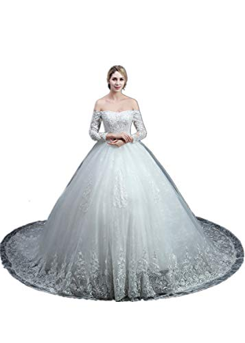 Fashion Brides Sexy Wedding Dress Off-The-Shoulder Long Sleeve Lace Up Brautkleider-Männchen Trailing Long Dresses,White,XL - White Wedding-shirt