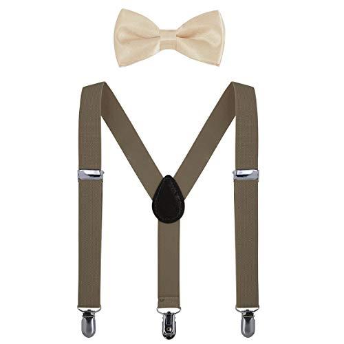 AWAYTR Kinder Hosenträger Krawatte Set -Einstellbar Länge 2.54cm Straps Mit Bogen Krawatte Set Für Jungen und Mädchen (Khaki) (Jungen, Grünen Bogen-krawatte)