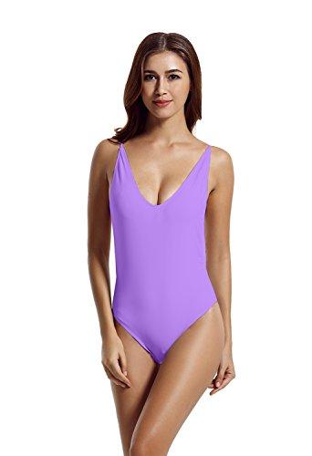 Zeraca Damen Mit Charme Einteiliger Monokini Rückenfreie Swimwear Neutraler Bikini-Set Tiefem V-Ausschnitt Backless Badeanzug-Bikini L Purple Clould