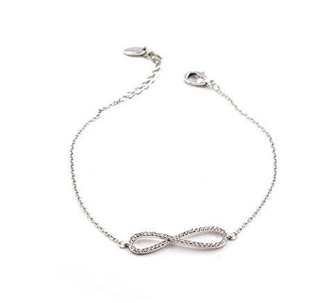 Or blanc INFINITY, figure de huit, Bracelet Ajustable
