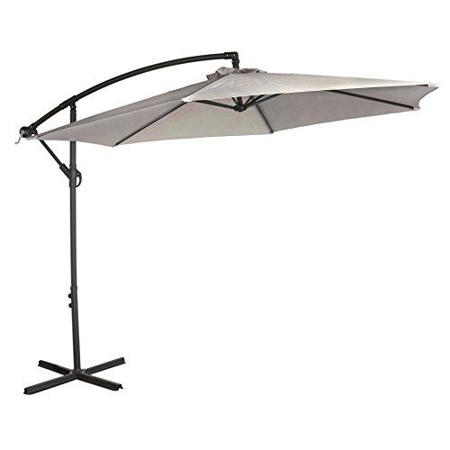 Aktive 53888 - ombrellone a braccio laterale diametro 300 cm, telaio di alluminio diametro 48/42 mm, grigio