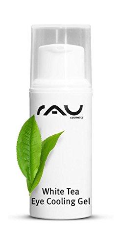 RAU White Tea Eye Gel 5 ml - Soin anti-âge pour les yeux, gel doux hydratant pour le contour des yeux avec du thé blanc, des extraits d'algues et de jojoba. Effet anti-rides ! - Taille Voyage Mini