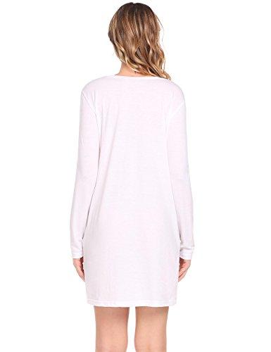 ... Pagacat Frauen beiläufiger runder Ansatz lange Hülsen lose feste  Minitunika Kleid Weiß ...