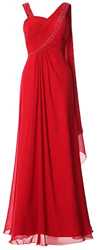 MACloth Women Straps Sweetheart Long Prom Dress Chiffon Formal Evening Gown red