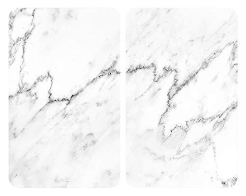 Wenko 53895100-Protector de Placa Universal mármol, Juego de 2 Unidades, Cristal Templado,...