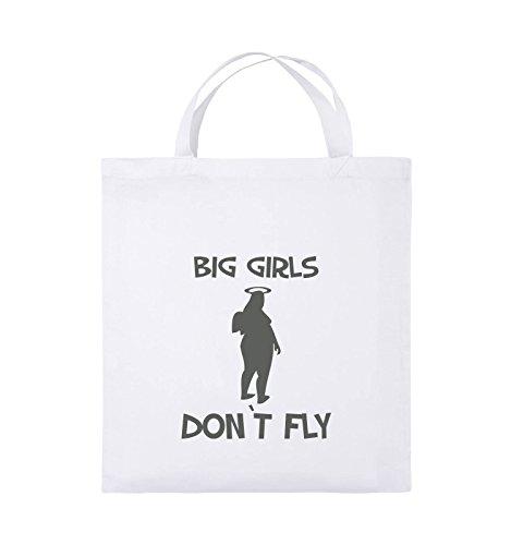 Comedy Bags - BIG GIRLS DON'T FLY - Jutebeutel - kurze Henkel - 38x42cm - Farbe: Schwarz / Pink Weiss / Grau