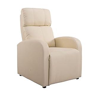 HOMCOM Relaxsessel Ruhesessel Fernsehsessel Sessel mit Liegefunktion Kunstleder (Creme)