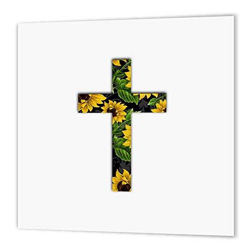 3dRose HT 185475_ 2Sunflower Muster christliche Kreuz, Schwarz und Gelb Blumenmuster Kruzifix Eisen auf Wärmeübertragung, 6von 6, für weiß Material