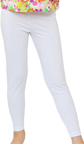 Kinder / Mädchen lange Leggings aus Baumwolle (134, Weiß)
