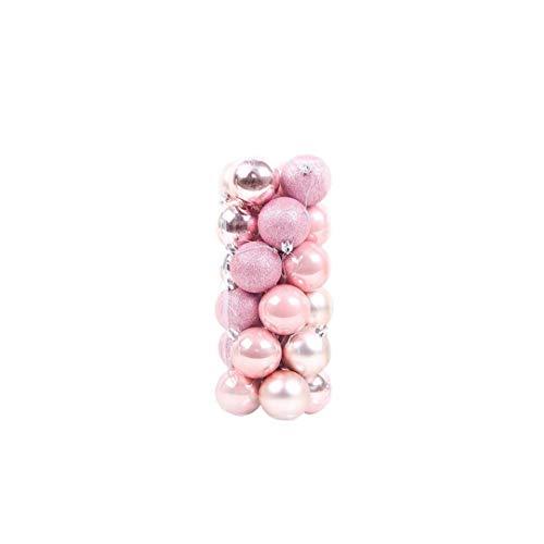 24pcs palle di natale ornamenti plastica infrangibile decorazione albero con gancio appeso palla rosa 1,5 pollici